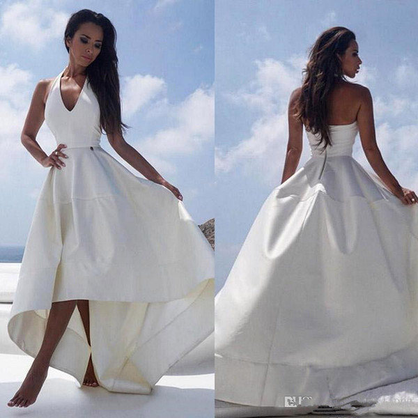 2018 White Satin High Low Beach Wedding Dresses Halter V-neck Sexy Backless Reception Dress For Women Cheap Summer Bridal Party Gowns