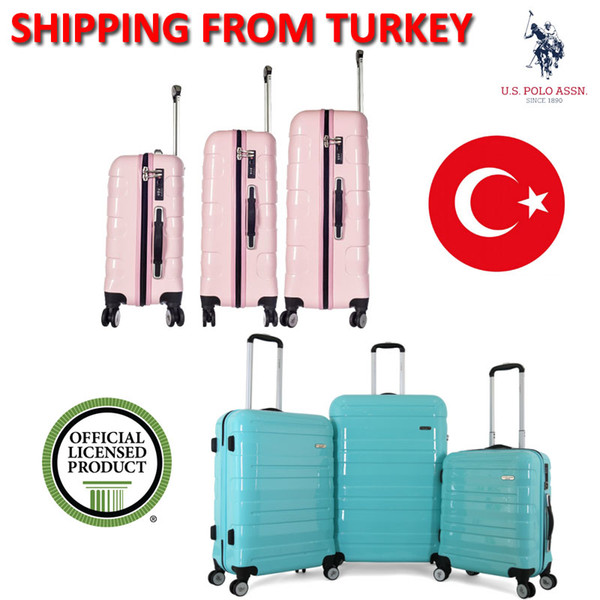 US. ASSN. Rolling Hand Luggage Sets Suitcase Travel Bags Trolley Case 4 Wheels Spinner Hardside PLVLZ7567 - PLVLZ7566 PC