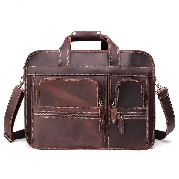 Mens Luxury Real Leather Briefcase Ipad Laptop Bag Crazy Horse 17 Inch Business Briefcase Bag Black/Brown/Coffee Colors Men