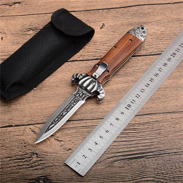 Nuovo coltello pieghevole tattico automatico orizzontale 60HRC 8CR13 lama manico in legno tattico di caccia di campeggio strumenti tasca EDC