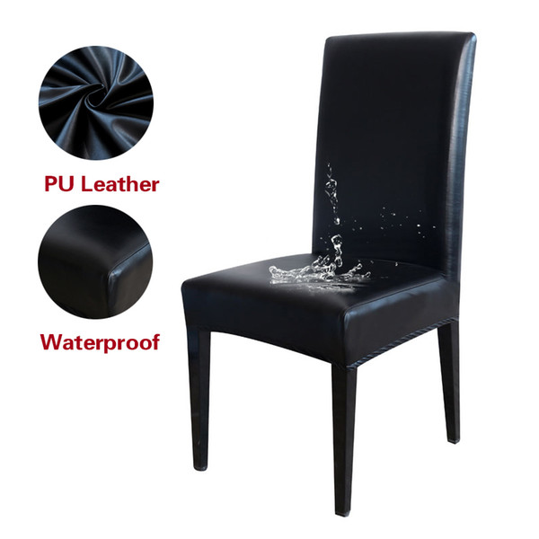 stretch pu leather chair cover waterproof oilproof black dining chair seat cushion cover for banquet party event washable