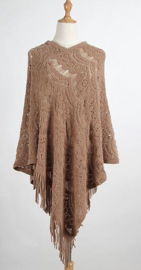 Womens Poncho Stole Cape Shrug Wrap Shawl Jacket Jumper Sweater Tassels Pullovers Solid Fringed Knit Shawl Female Autumn