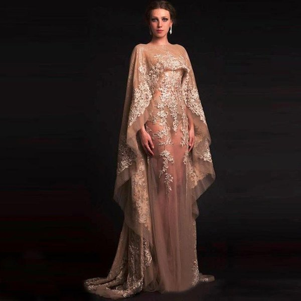 Unique Arabic kaftan champagne tulle gown sexy Illusion transparent decals evening dress in dubai and dubai party shawl robes