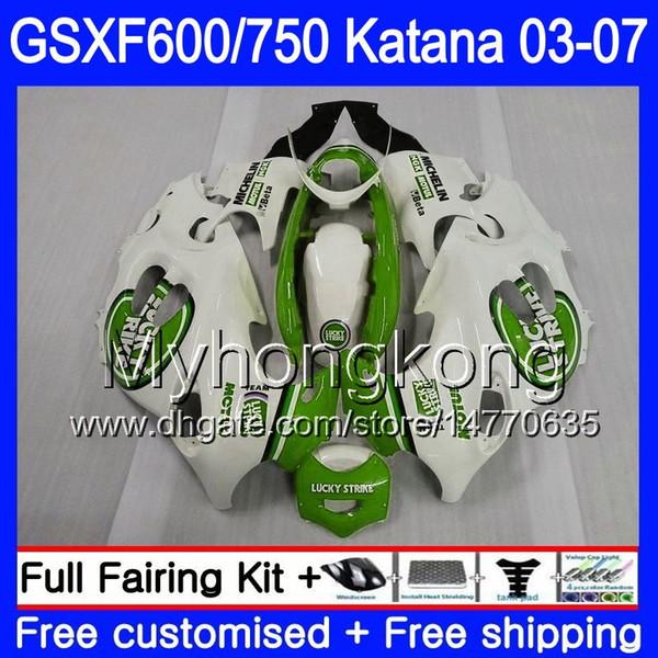 GSXF-600 Para SUZUKI KATANA GSXF 750 600 GSXF600 03 04 05 06 07 293HM.75 GSX 750F Lucky green white GSXF750 2003 2004 2005 2006 2007 Carenado