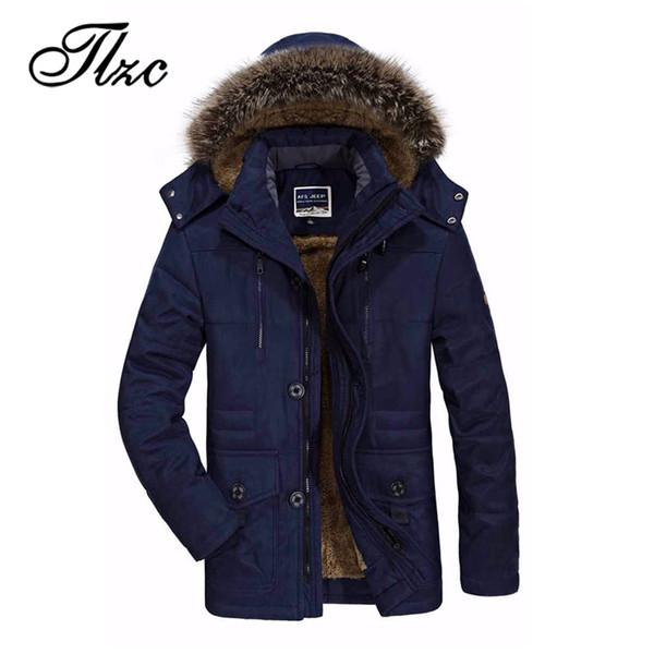 TLZC Faux Fur Hooded Fleece Male Long Jacket Windbreaker Men Winter Jacket Warm Casual Parka Coat Overcoats Plus Size L-5XL 6XL