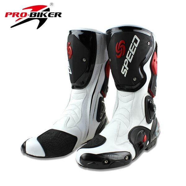 Stivali da moto da uomo speed 4 stagioni Protezioni scarpe da moto Stivali da motocross nero rosso bianco stivali da moto