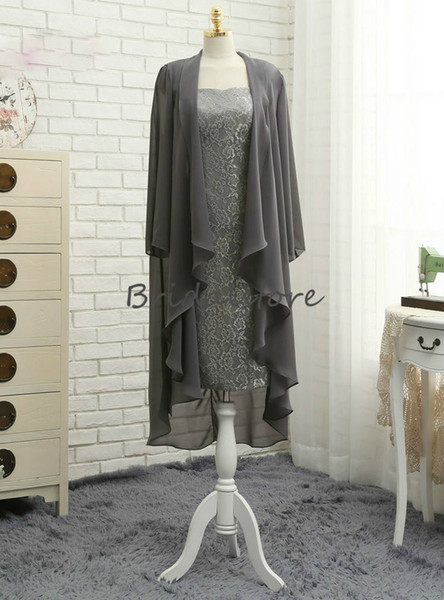 Fitted Silver mother of the bride suits Two Piece Cap Sleeves Chiffon Lace Mother's Evening Dresses Knee length Modern Outdoor Party Gowns