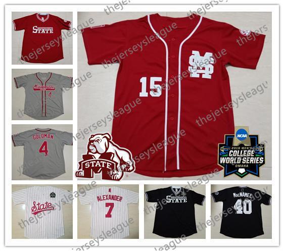Mississippi State Bulldogs 2019 CWS # 15 Jake Mangum 40 Elijah MacNamee 42 Blake Smith Cream Rojo Negro cosido NCAA College Baseball Jerseys