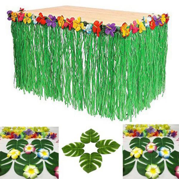 Hawaïenne Table de pique-nique Jupe Accueil Party Décorations Hibiscus vert Tablecloth