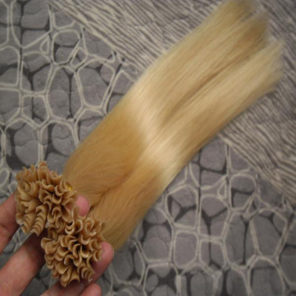 Extensões de cabelo de fusão 1g / vertentes remy cabelo pré ligado queratina extensão do cabelo na queratina # 613 lixívia loira virgem brasileira reta