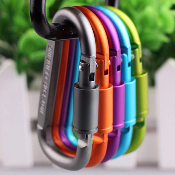 Carabiner Ring Keyrings Key Outdoor Sports Climbing Buckle Camp Snap Clip Hook Key Chain Sturdy Metal Colour Camping Aluminum Alloy