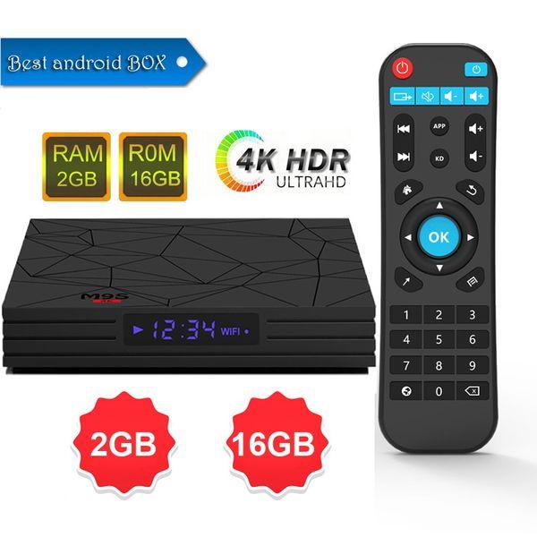 Yeni Varış M9S W5 Set-top TV Kutusu 2 GB RAM DDR3 16 GB Android 7.1 Amlogic S905W Dört çekirdekli CPU 2.4 GHz WiFi ROM 4 K Media Player Daha Iyi S905X2