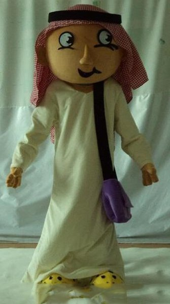 Discount factory sale a brown Arab man mascot costume with a purple bag for adult to wear