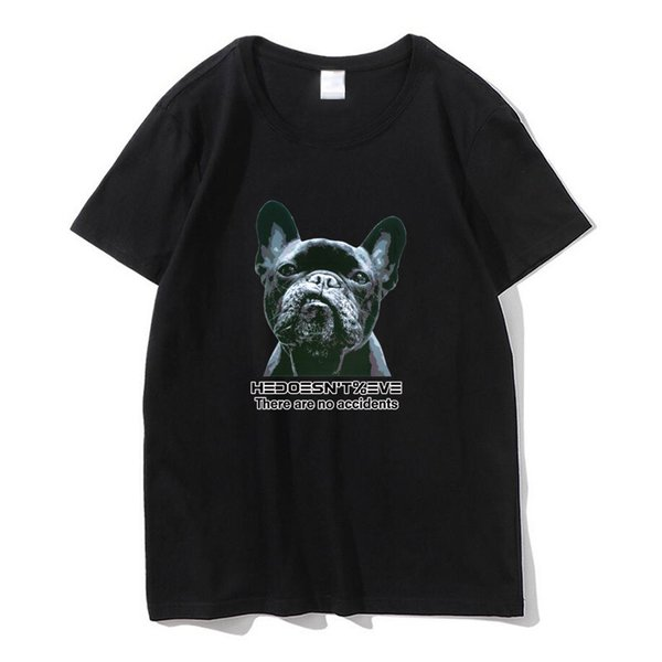 100% cotton high quality comfortable fabric street style dog head print casual short-sleeved T-shirt men's shirt