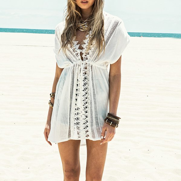 2018 New Beach cover up White Lace Swimsuit cover up Summer Crochet Beachwear Bathing suit ups Beach Tunic