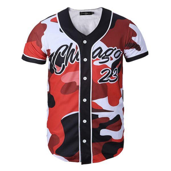 Мужская спортивная рубашка с бейсбольным принтом в стиле 3D с пуговицей 3D Хорошее качество 45