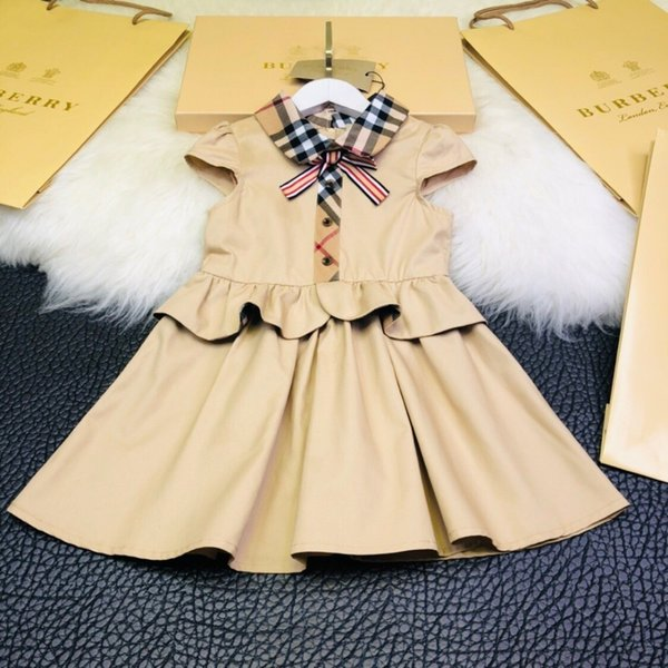 Girls dress explosion models 2019 bow fashion is not restrained with windbreaker fabric skirt wrinkle design upper body natural casual