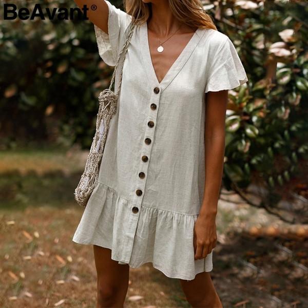 Beavant V-neck Summer Cotton Linen Women Ruffle Buttons Loose Mini Dress 2019 Holiday Beach Shift Dresses Ladies Vestidos C19040402
