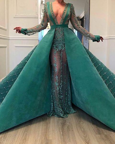 Abiye verde esmeralda flor lace sereia vestidos de noite com trem destacável 2020 frisado sexy longo vestidos de baile mangas cheias