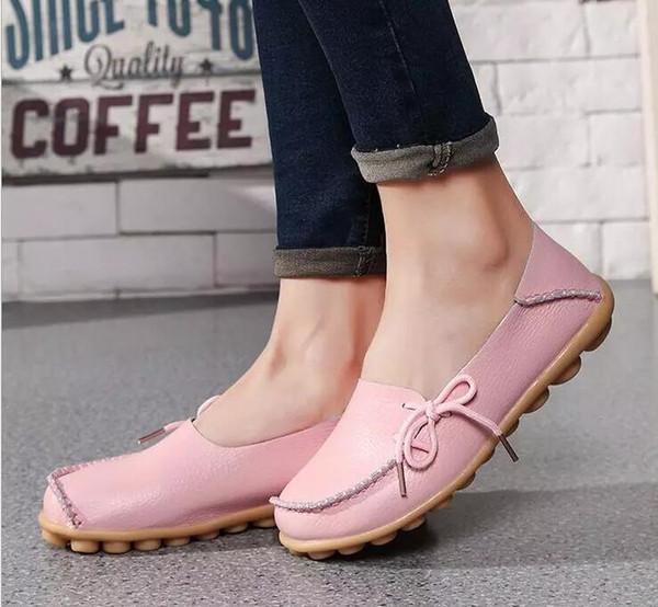 2018 Comercio al por mayor 20 colores al aire libre Cuero Genuino Doug Zapatos Mujer Mocasines Nuevo Piso con Parte Inferior Suave Zapatos Casuales Mujeres Damas Ocio