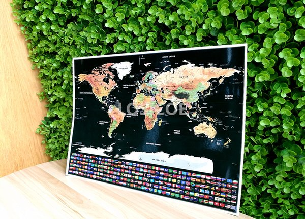 Scratch Map Personalized Flag World Scratch Map Mini Scratch Off Foil Layer Coating Poster Wall Stickers 82.5 x 59.5 cm