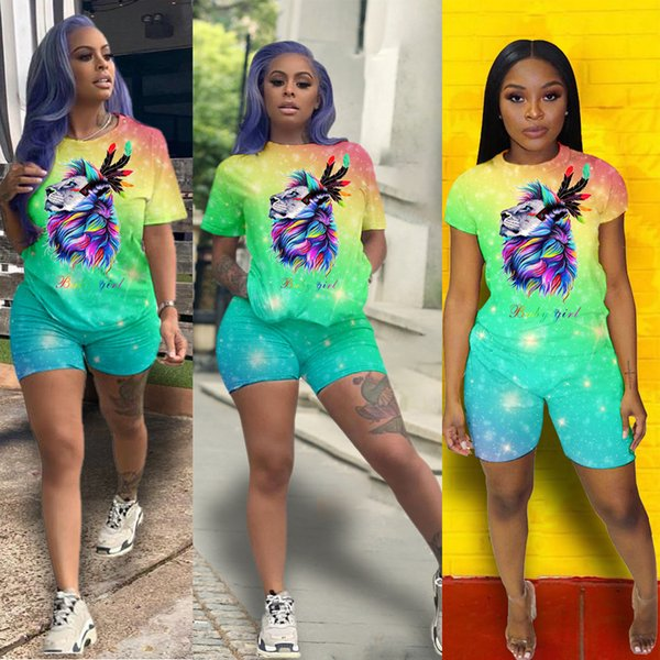 top popular Women suit sexy dregs infection multicoloured Euro-American fashion Short sleeve pants T-shirt + shorts sportswear leisure women's suits 2019