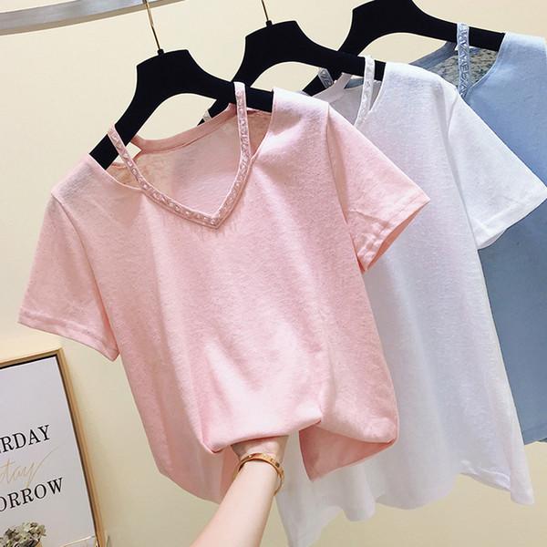 gkfnmt White Tshirt Women Tops Korea Style Pink Blue Summer V-Neck Female T-shirt Women Tee Shirt Short Sleeve Fashion 2019