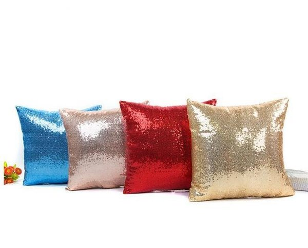 Sequin Pillow Case Solid Color Glitter Pillowcase Bling Shiny Throw Cushion Cover Pillowcover Home Car Decorations DHL Free Shipping
