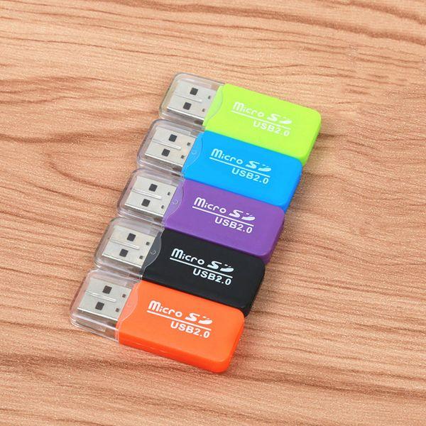 Alta calidad Mini USB 2.0 Lector de tarjetas para tarjeta Micro SD Adaptador de tarjeta TF Plug and Play colorido Elija de para Tablet PC