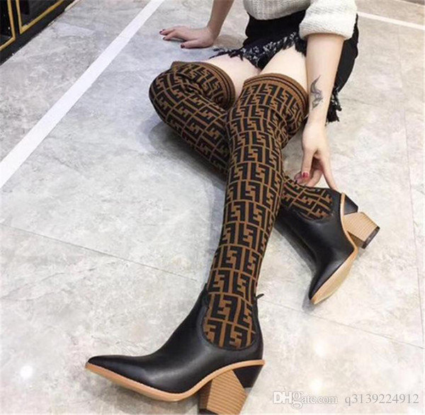 Le donne di lavoro a maglia moda Calza stivali a punta tacco grosso di 9.5CM F Marca Donna coscia sopra il ginocchio stivali stivali traspirante elastico