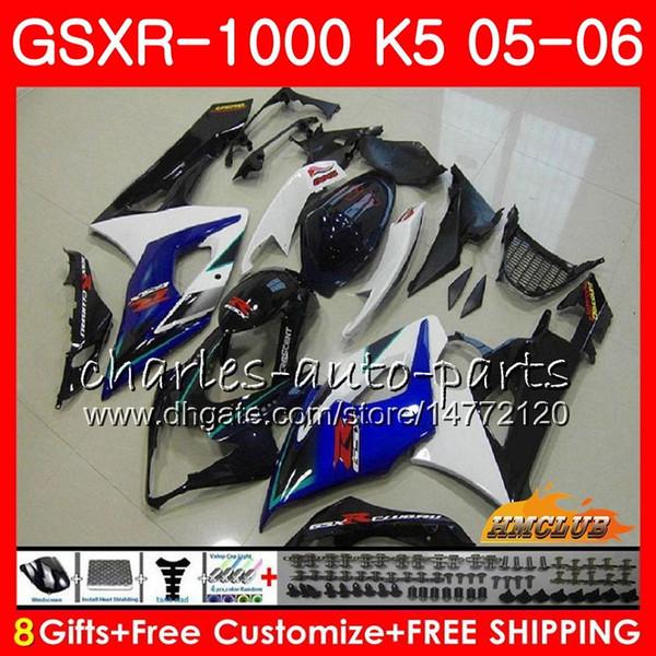 Body +Cowl For SUZUKI GSXR-1000 GSXR 1000 05 06 Bodywork 11HC.60 GSX-R1000 GSXR1000 05 06 K5 GSX R1000 2005 2006 Fairing blue white hot kit