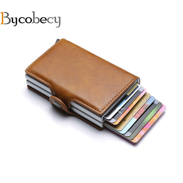 e506567d7cad Bycobecy 2019 Card Holder Wallet Rfid Blocking Double Metal Box Credit Card  Aluminium Leather Business Card Case Wallet Purse Y19052202 Funky Wallets  ...