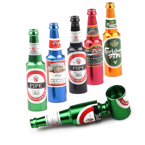 83mm Beer Bottle Metal Smoking Pipes Oil Burner Mini Size Tobacco Smoke Filter Pipes Smoking Accessories Beer Wine Pattern High Quality