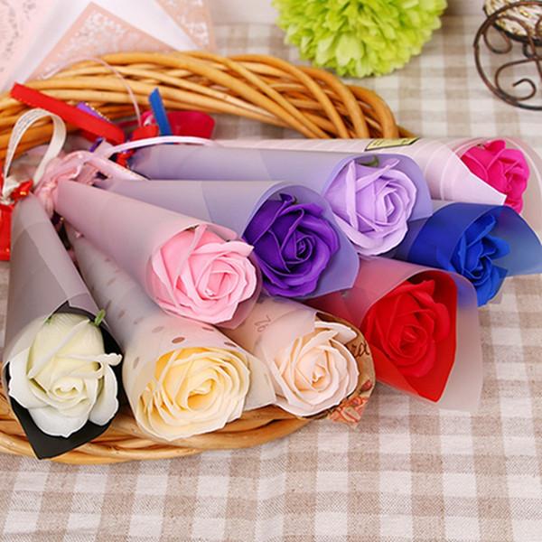 Pareja Regalo de San Valentín Múltiples colores Flor de rosa ramificada con estilo Romántica Flor de plástico grande con caja de embalaje DH0917 T03