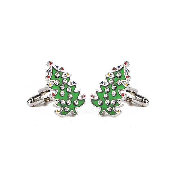 Weihnachtsgeschenke Bestnote Luxus Kristall Emaille Weihnachtsbäume Manschettenknöpfe Für Herren und Frauen Hemd Marke Manschettenknöpfe Manschettenknöpfe