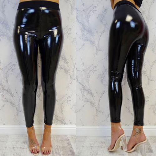 Womens Ladies Soft Strethcy Shiny Wet Look Vinyl Leggings Trouser Pants Bottoms