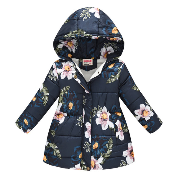 best selling Winter Girls Warm Down Jackets Kids Fashion Printed Thick Outerwear Children Clothing Autumn Baby Girls Cute Jacket Hooded Coats ZLE421