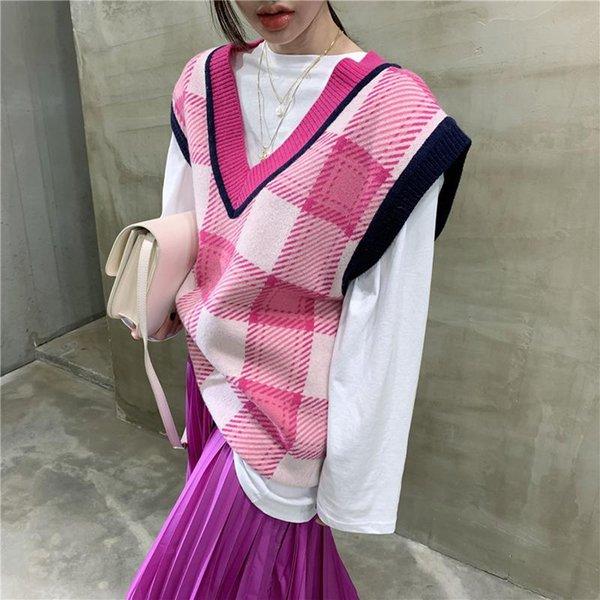 Корейский плед Сыпучие вязаный свитер жилет женщин Vintage V шеи без рукавов Пуловеры Топы опрятный стиль Oversized Длинные Свитера
