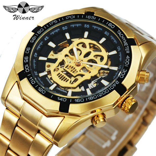 Winner New Fashion Mechanical Watch Men Skull Design Top Brand Luxury Golden Stainless Steel Strap Skeleton Man Auto Wrist Watch Y19061905