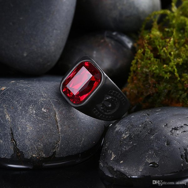 hot! Mens Rings Stainless Steel Jewelry Biker Rings Red Zircon Ring Men's Fashion Dance Black Rings Jewelry Accessories