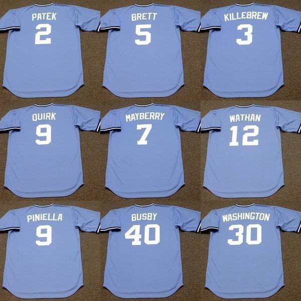 uomini Kansas City 9 Jamie Quirk 30 U.L. WASHINGTON 39 Al Hrabosky 26 AMOS OTIS 40 Steve Busby 22 Dennis Leonard Jersey di baseball 1980