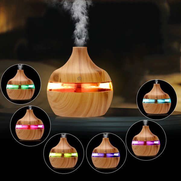 best selling 300ML Electric Humidifier Aroma Oil Diffuser Ultrasonic Wood Grain Air Humidifier USB Mini Mist Maker LEDLight For Home Office