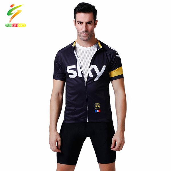 SUNSEET SPORTS Short Sleeve Men Cycling Clothes Polyester Cycling Jersey Set Men Polyester Jersey Summer Bicycle Clothes