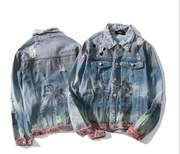 Moda dos homens do desenhista piloto jaqueta Desgastado homens casaco denim luxo ocos ciclismo jaquetas jeans tendência topos impressão jaqueta de marca de qualidade superior