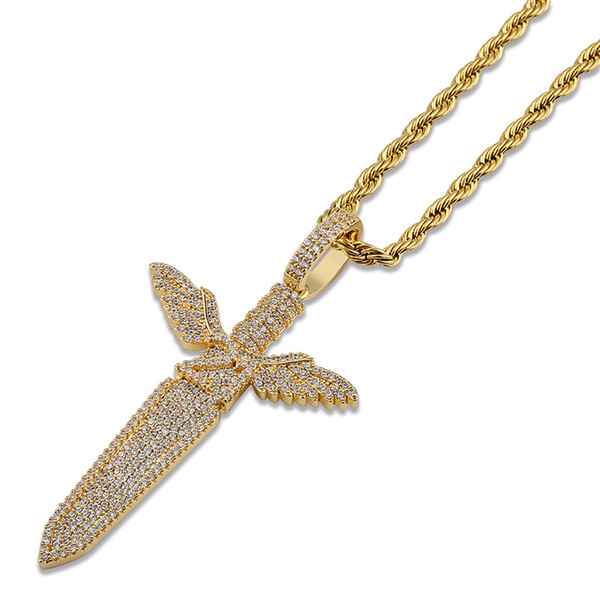 Iced Out Angel Sword With Wings Pendant Necklace Men Bling Full Zircon Gold Silver Color Hip Hop Charm Chain Necklace