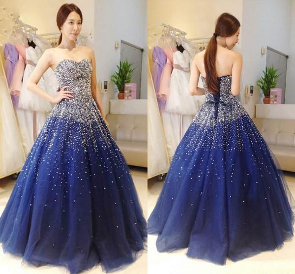 Princesa 2020 Frisado Lantejoulas Azul Tule Vestidos de Baile Querida Uma Linha Formal Vestidos de Noite Até o Chão Pageant Vestidos de Festa Quinceanera