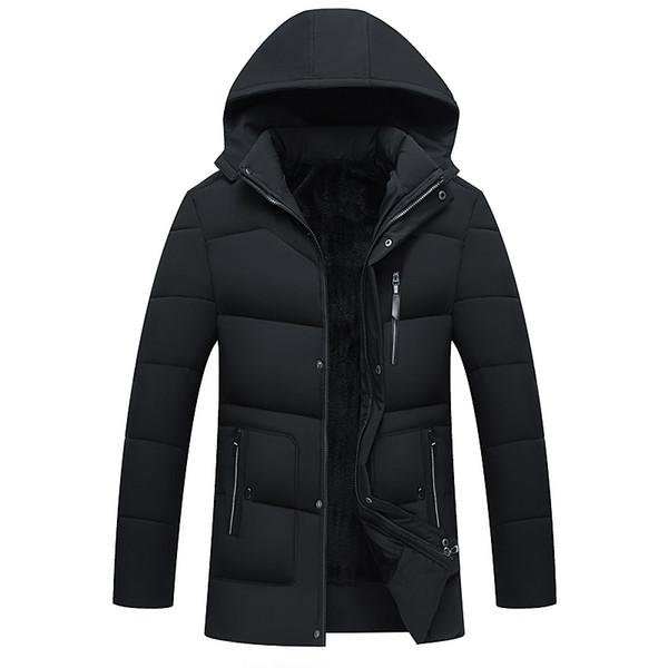 Chaqueta casual de invierno para hombre Fleece down Chaqueta con capucha cálida Terciopelo de algodón de mediana edad espesar chaqueta acolchada de algodón Azul marino Negro Verde