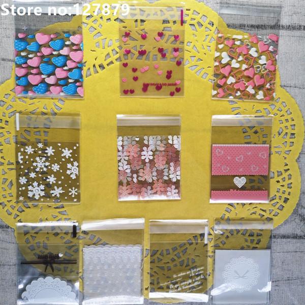 100 adet Mini Kalp Desen Kek Kurabiye Ambalaj BagGift Şeker Çantalar DIY Kendinden Yapışkanlı Kılıfı Düğün Doğum Günü Partisi 7x7 CM