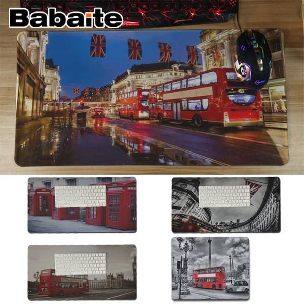 Babaite Alta Qualidade London Bus Inglaterra Telefone Design Retro Conforto Esteira Do Rato Esteira Do Jogo de Teclado Profissional Mousepad
