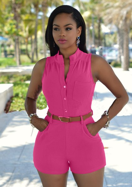 Summer Women Sexy V-Neck Rompers Fashion Designer High Waisted Short Jumpsuits With Sashes Candy Color Female Clothing